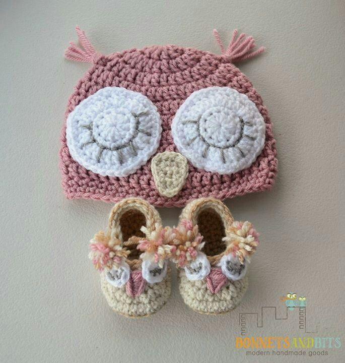 Crochet owl hat & booties   Knitting   Pinterest   Häkeln, Nähen ...