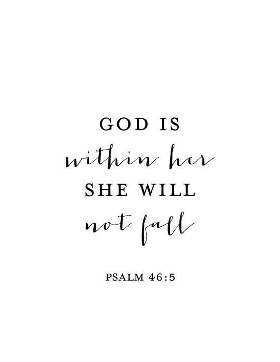 God is Within Her She Will Not Fall Print – Psalm 46:5 – Psalm Print – Bible Verse Print – Bible Verse Art – Nursery Decor – Nursery Art