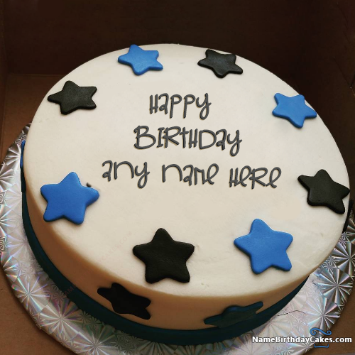 Star Butter Cake For Boys Happy Birthday Wishes With Name ...