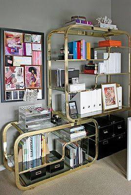 love this brass shelving unit - great for an office