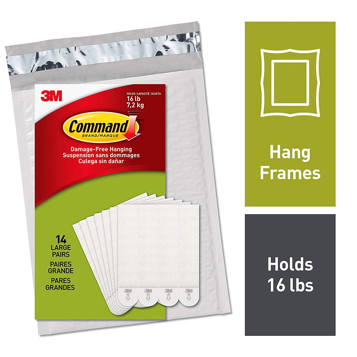 Command Picture Hanging Strips Decorate Damage Free 14 Pairs 28 Strips Indoor Use White Ph206 In 2020 Picture Frame Hangers Picture Hanging Frame Hangers