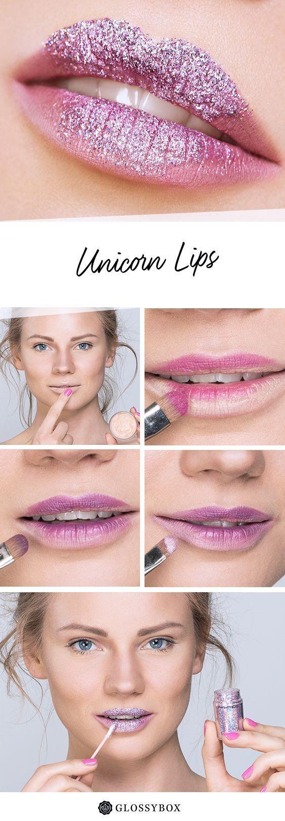 Photo of Dezentes Make-up und auffälliger Lippenstift Einhorn, Einhorn, Glitzer, Lippen …