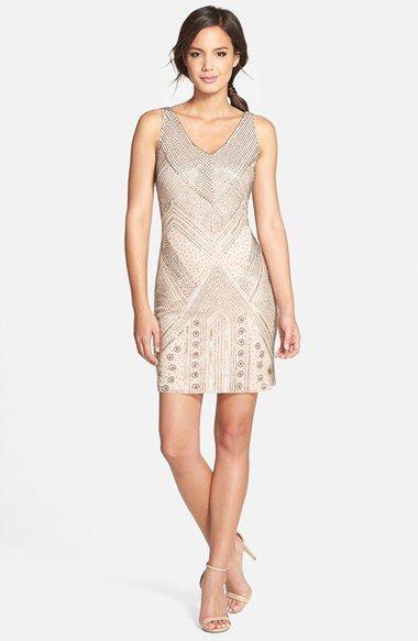 Short flapper wedding party dress - Womens Adrianna Papell Beaded ...