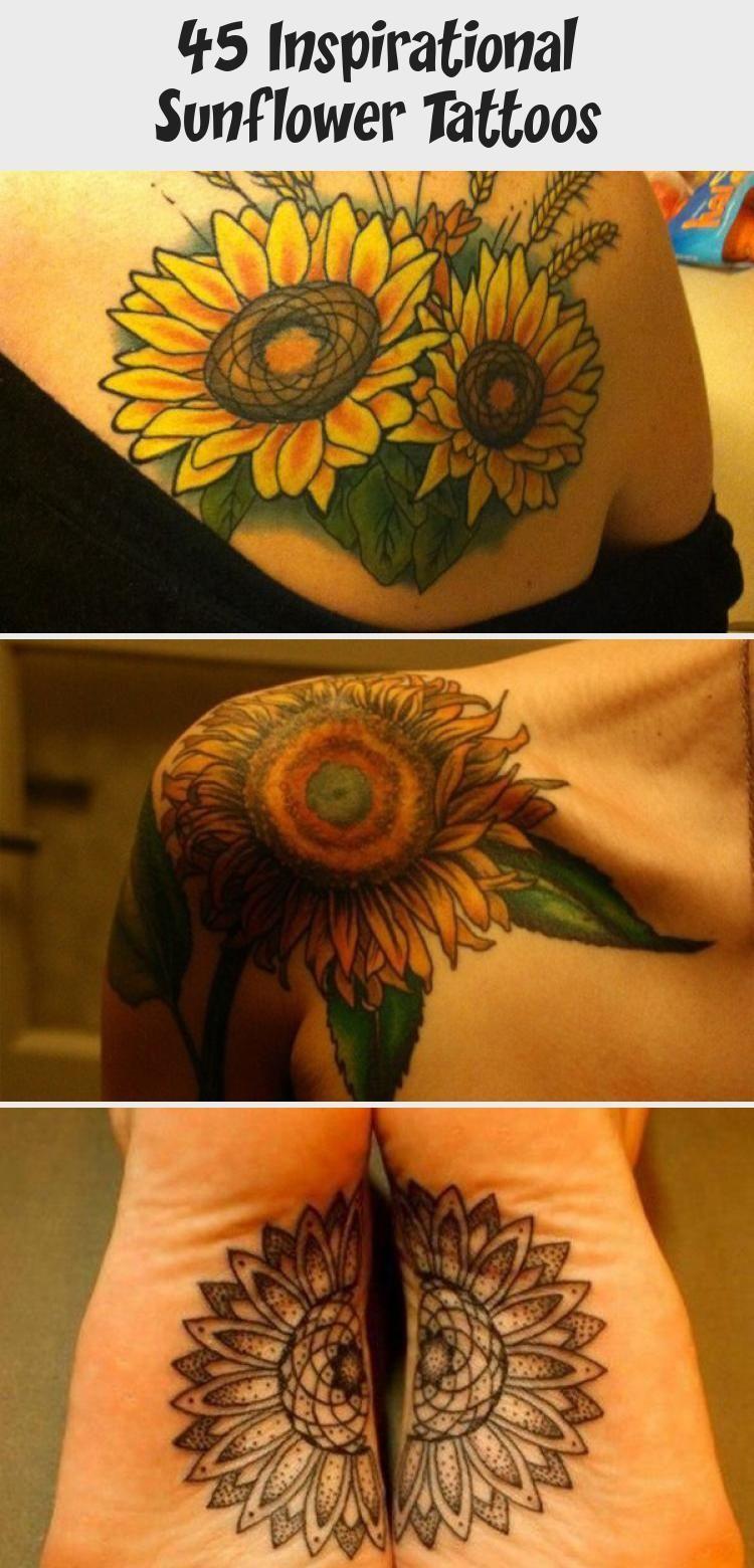 Photo of sunflower tattoo – 45 Inspirational Sunflower Tattoos #sunflowertattoosPlacement…