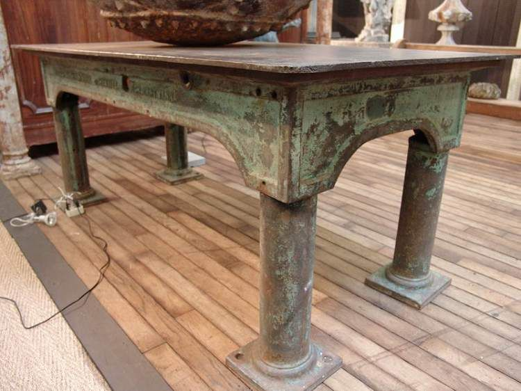 1930 Huge Vintage French Industrial Steel Work Table With Original Green  Patina From The North Of France $3980