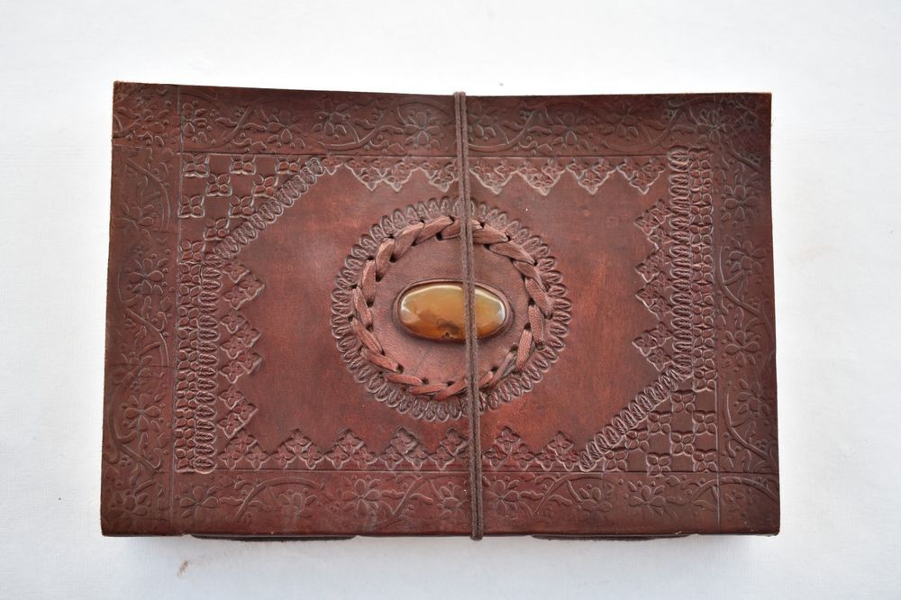 Mens Vintage Stone Embossed Blank Pages Journal Personal Notebook