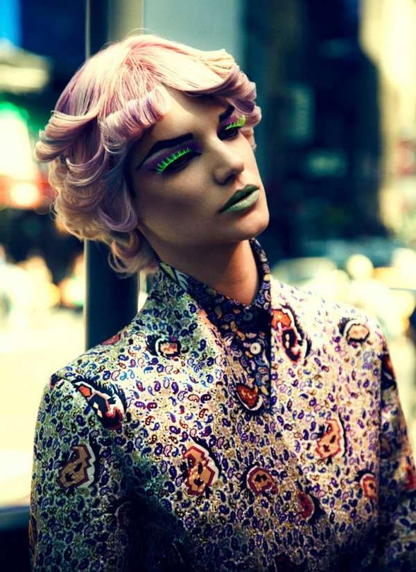 This Elle Mexico Editorial has Neon Makeup and Bright Apparel #hair trendhunter.com
