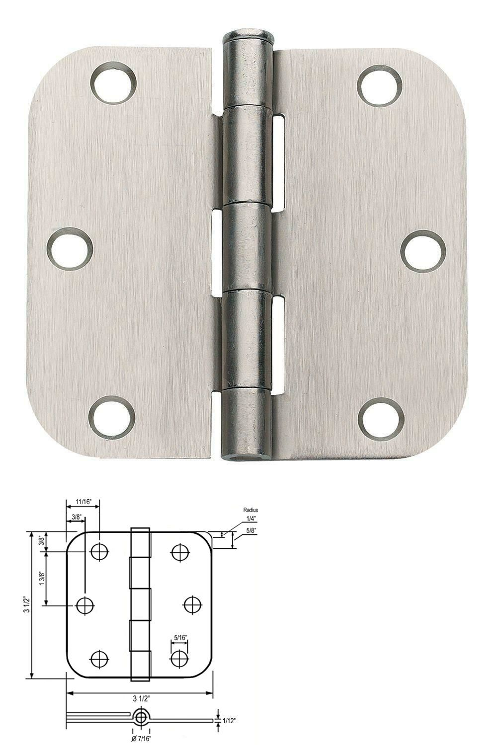Lot Of 12 Satin Nickel 3 5 X 3 5 3 1 2 Door Hinges With 5 8 Radius Corners 769471792998 Ebay Door Hinges Hinges Interior Door Hinges