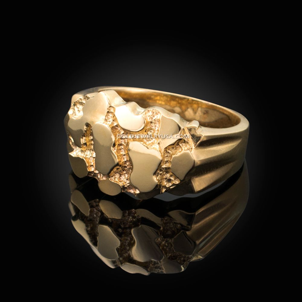 Mens Yellow Gold Nugget Ring Gold Nugget Ring Mens Gold Rings Mens Gold Jewelry