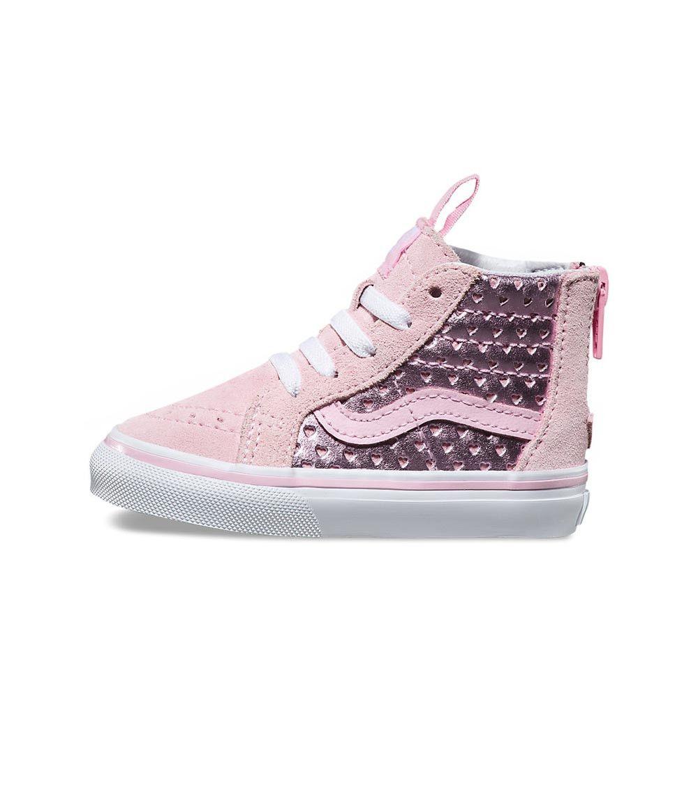 422766b65886a4 Vans SK8 Hi Zip Toddler Metallic Heart Perf Pink