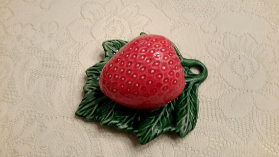 Strawberry Pottery Wall Pocket by OurVintageNest on Etsy
