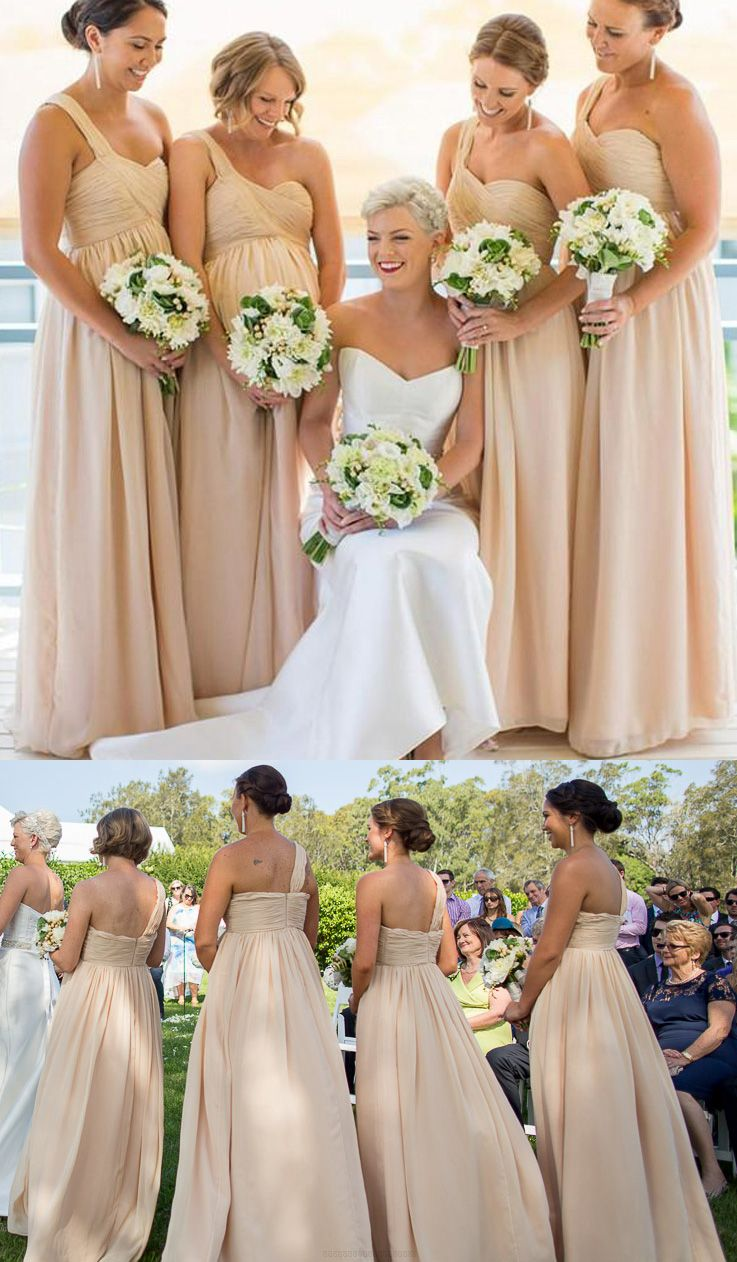 Floor length bridesmaid dresses champagne floorlength bridesmaid