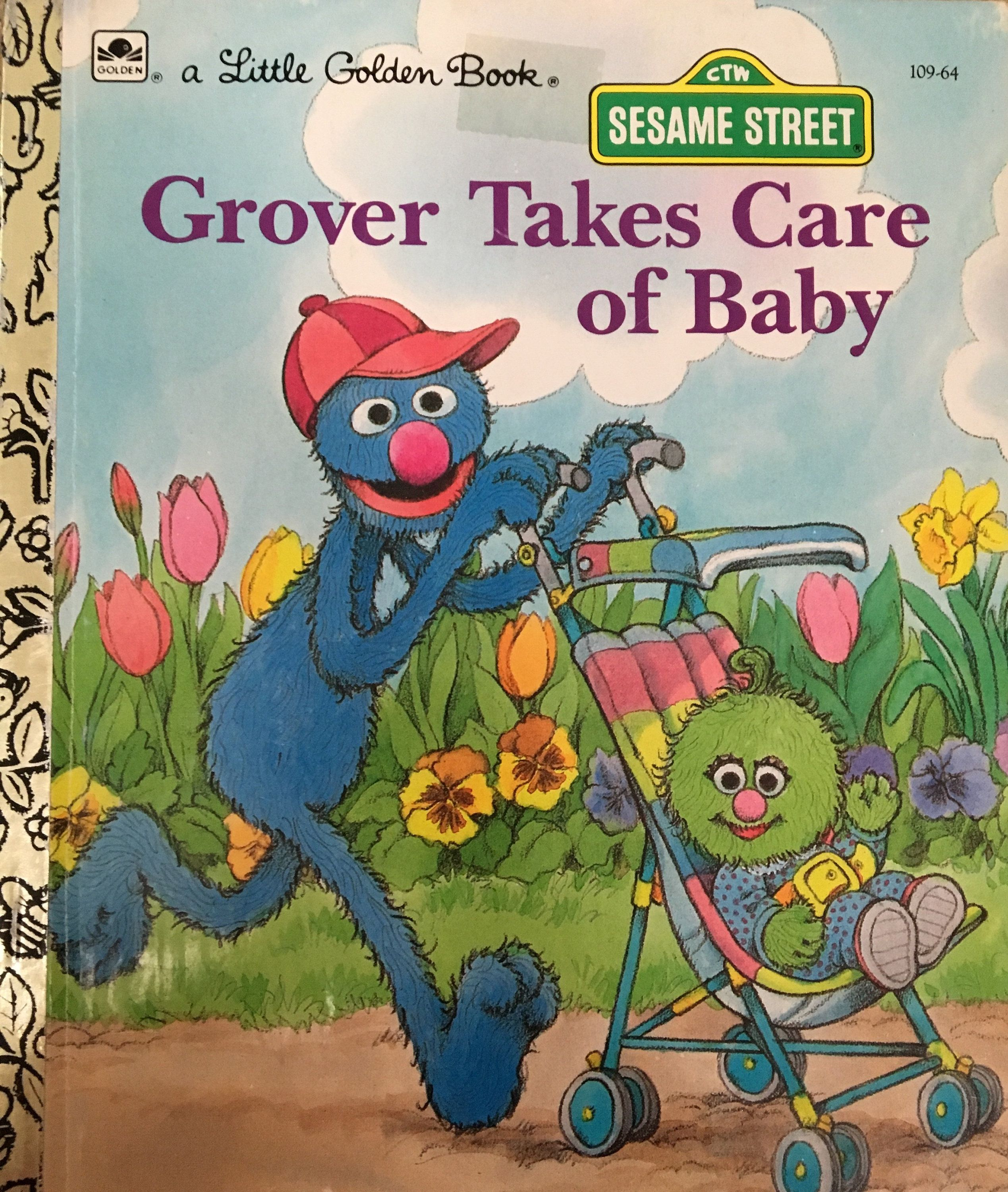 Vintage sesame street little golden book grover takes care of baby 109 64 1991 edition baby shower gift childrens hardcover by mothermuse on etsy