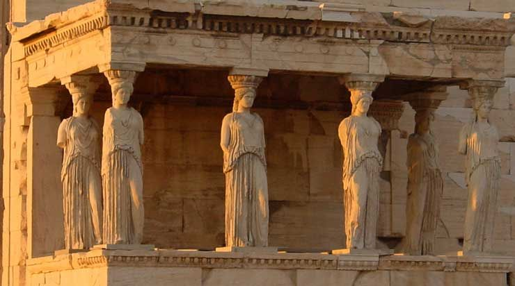Caryatid and column from the Erechtheion