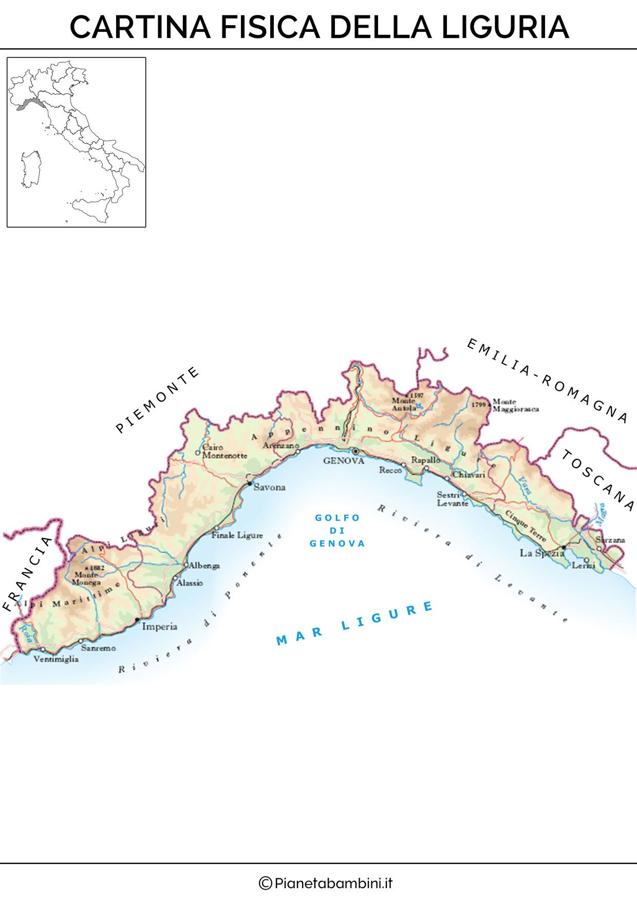Cartina Sicilia Fisico Politica.Cartina Muta Fisica E Politica Della Liguria Da Stampare