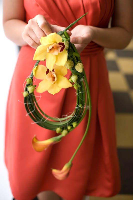 cymbidium and calla lily bouquet