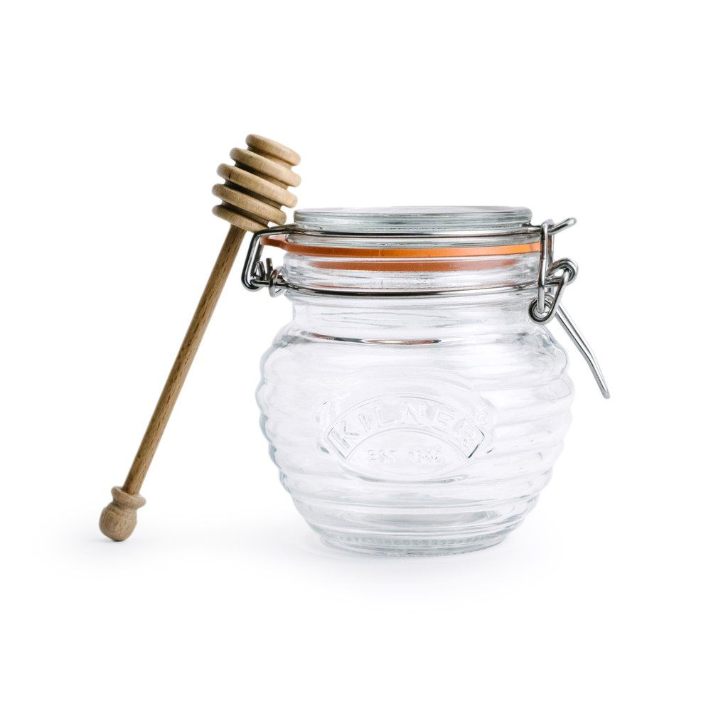 Keep your honey safe in this sweet and stylish glass honey pot complete with a beach wood dipper. This versatile pot makes it simple to dip and easy to preserve