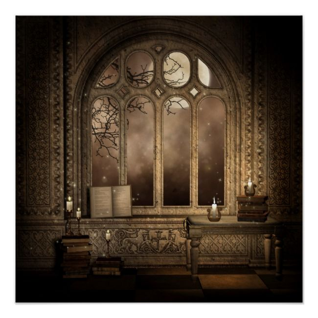 Gothic Library Window Poster | Zazzle.com