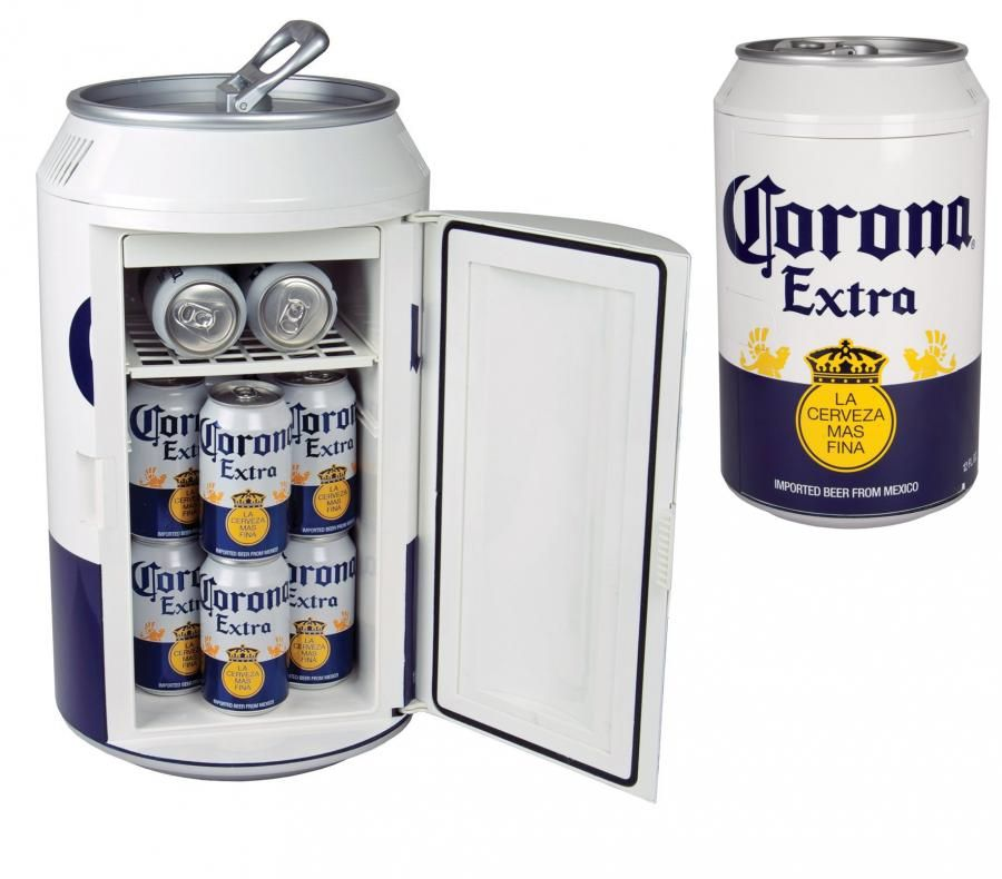 Tuaca Light Up Two Bottle Refrigerated Liquor Shot Chiller: Giant Corona Can Mini Beer Fridge