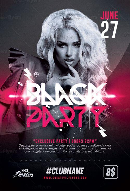 Black Party Flyer | Flyer Templates | Pinterest | Creative flyers ...