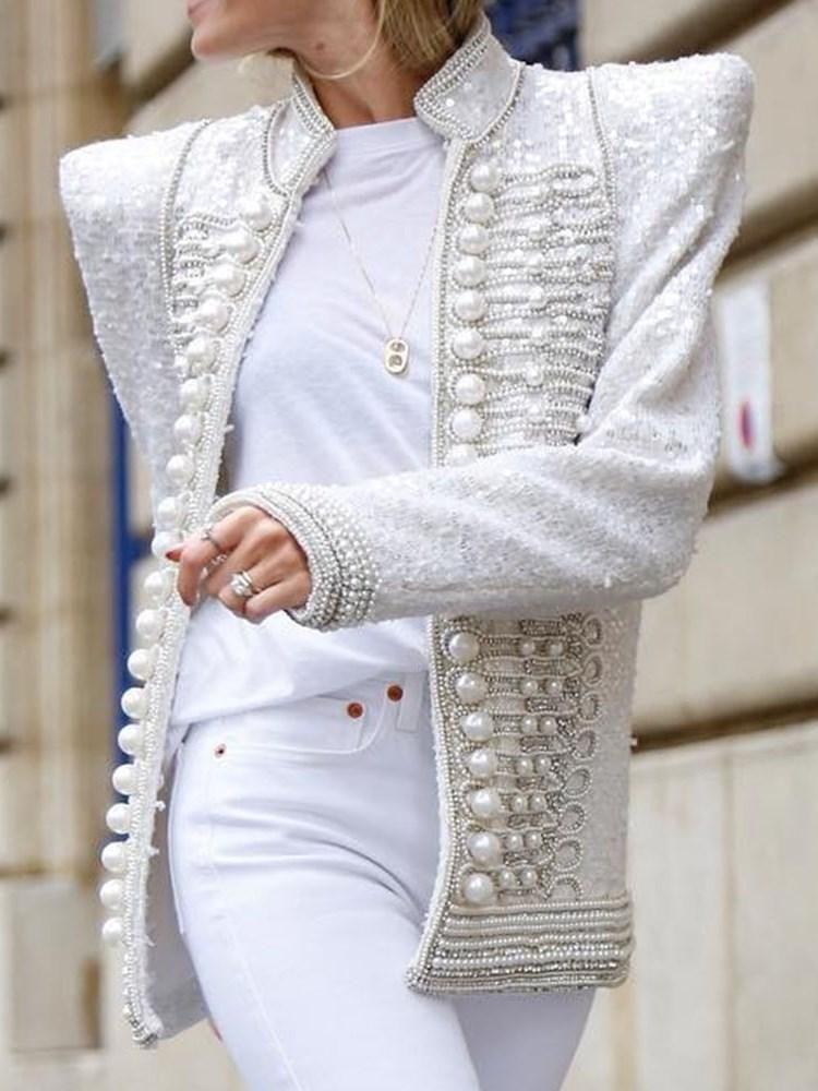 2020 的 straight long sleeve standard stand collar jacket 主题