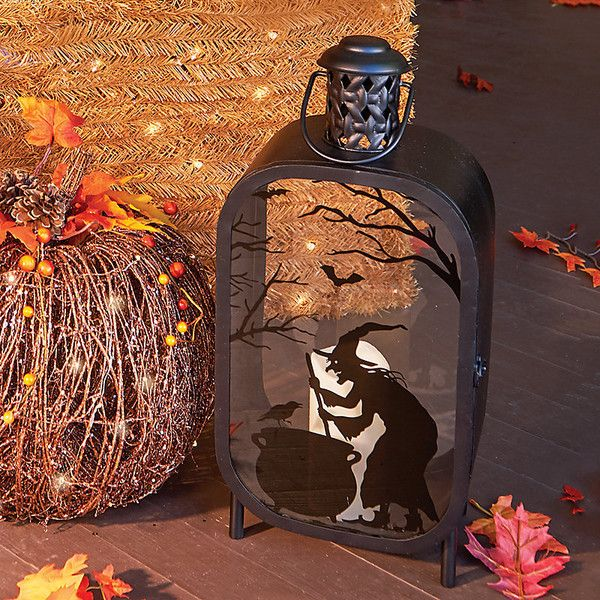 Improvements Lighted Halloween Lantern with Witch ($50) ❤ liked on - halloween lighted decorations