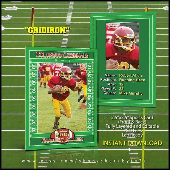 2020 Football Sports Trader Card Template For Photoshop Gridiron