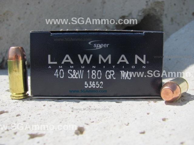 1000 round case - 40 cal SW Speer Lawman 180 grain TMJ ammo - 53652