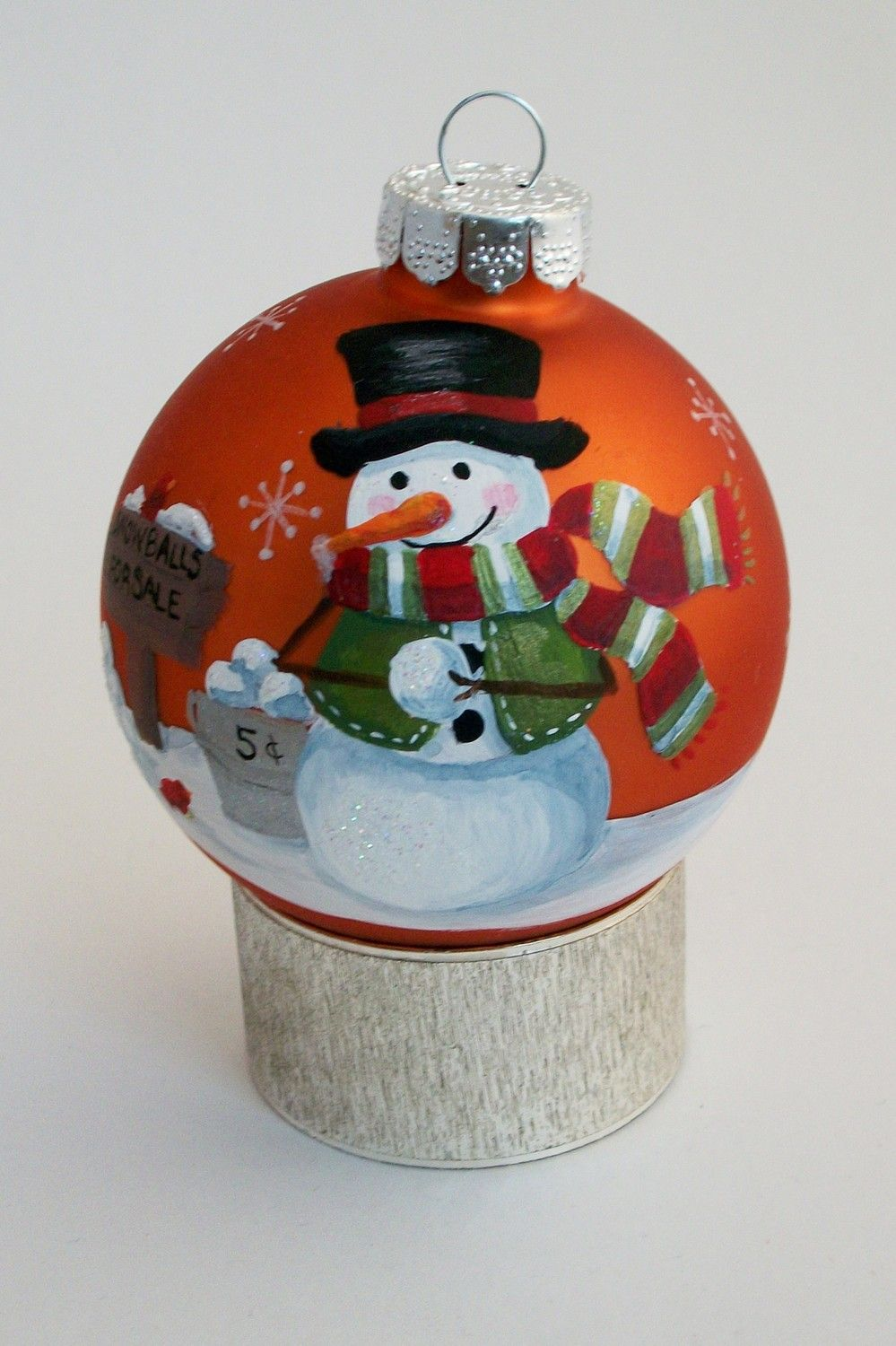 Hand+Painted+Christmas+Ornament++Snowman+by
