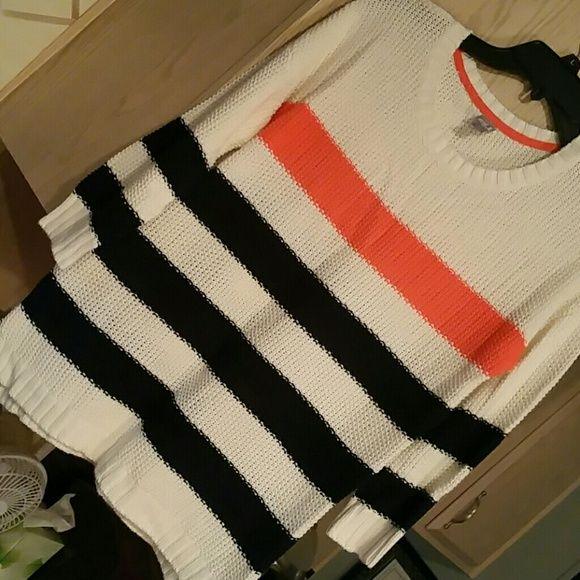 SWEATER 3/4 Sleeves Navy blue/Orange jcpenney Sweaters Crew & Scoop Necks