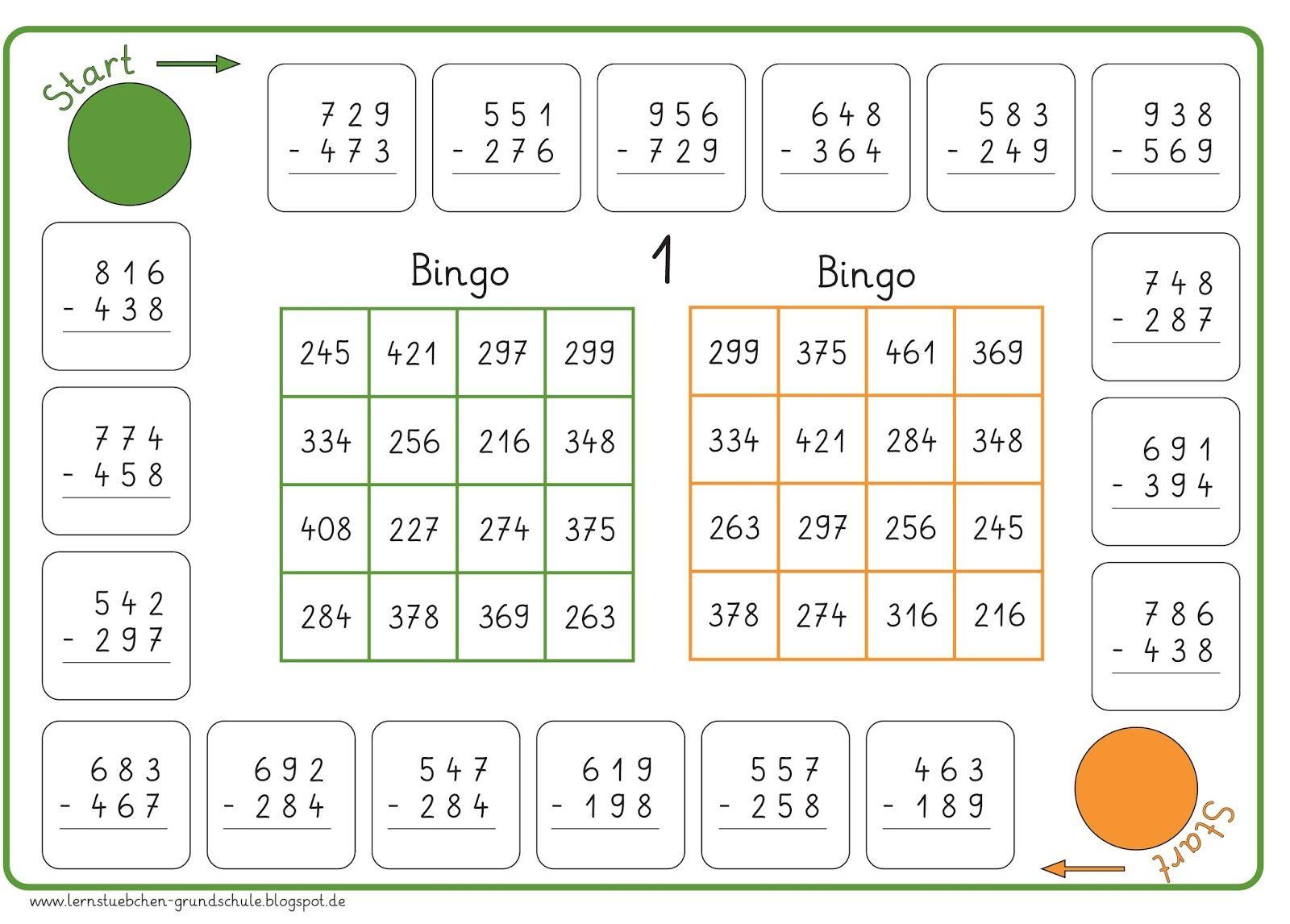 hier jetzt das Bingo für die Subtraktion und auch hier kann man ...