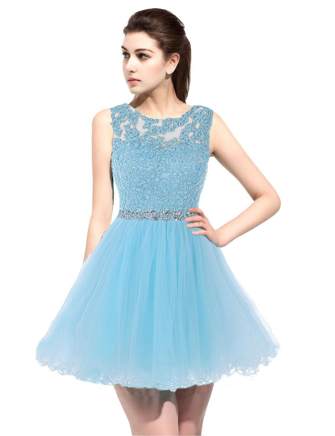 Anmor girls lace beaded homecoming dresses sequined appliques