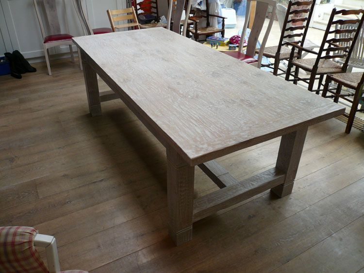 Lime Washed Handmade Oak Refectory Dining Table With Matching New Hardwood Dining Room Furniture Design Ideas