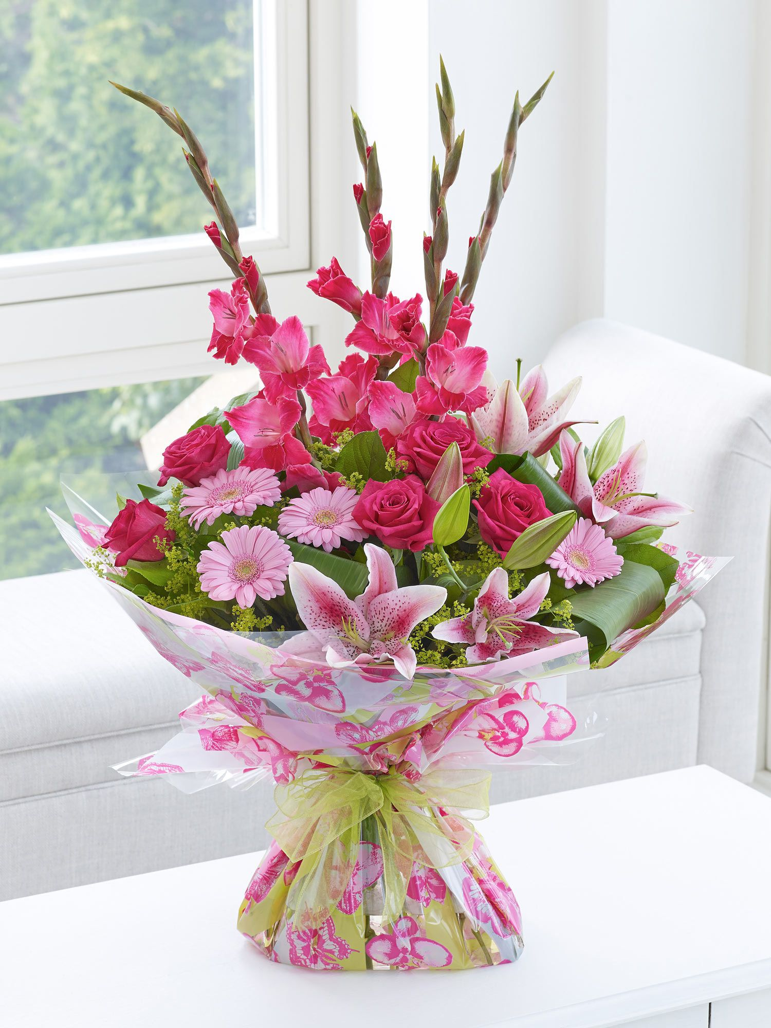 Large Pink Summer Hand Tied Interflora My Designs Pinterest