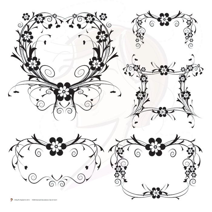 Digital Stamp Design Flourish Rose Border Corner Clip Art: Scrapbook Designs, Page
