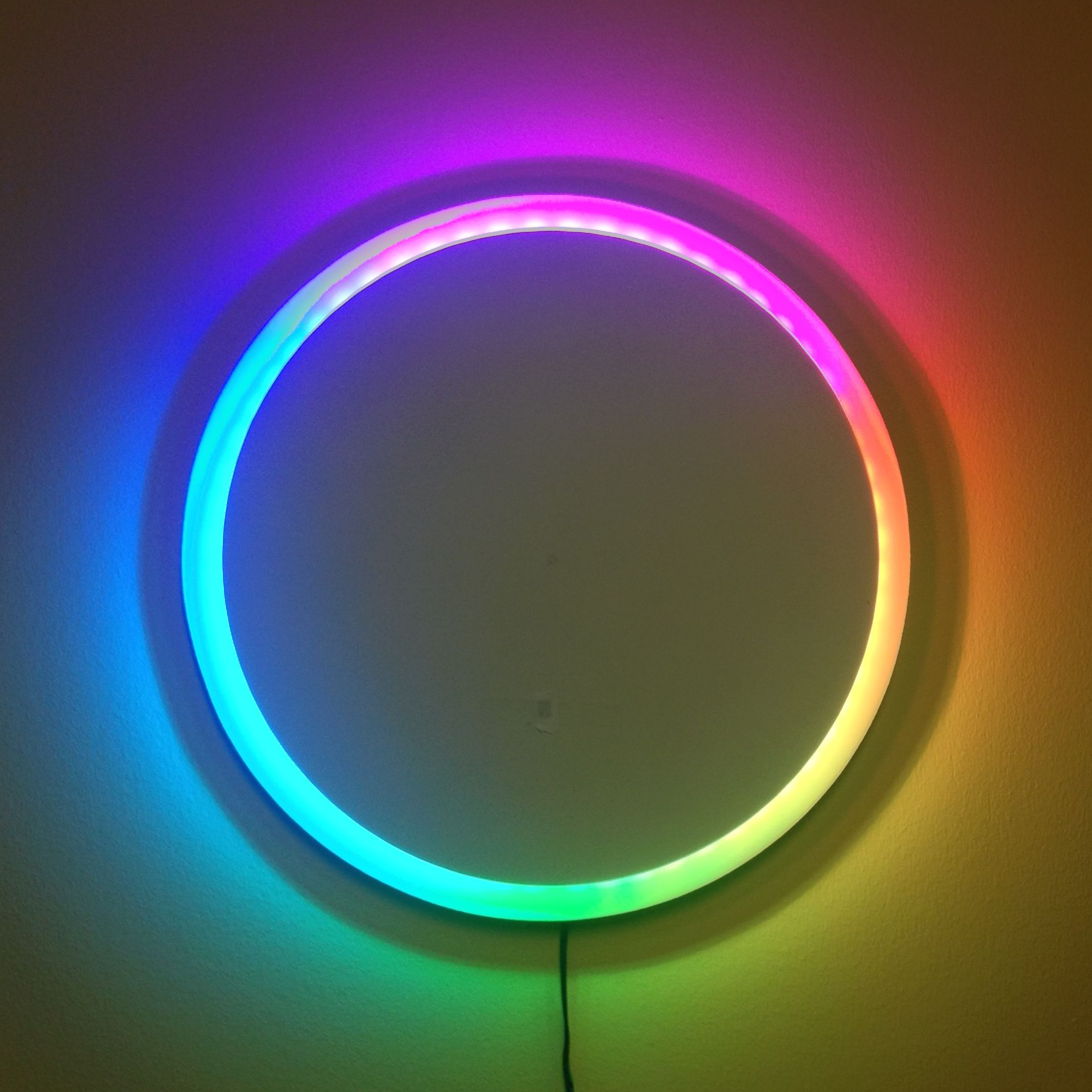 Neo pixel infinity mirror enviral design - A Clock Made With A 60 Led Ws2811 Strip Frame Made From Mdf And Hardboard