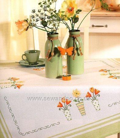 Buy Orange Flowerpots Tablecloth, 90 x 90cm Cross Stitch Kit Online at www.sewandso.co.uk