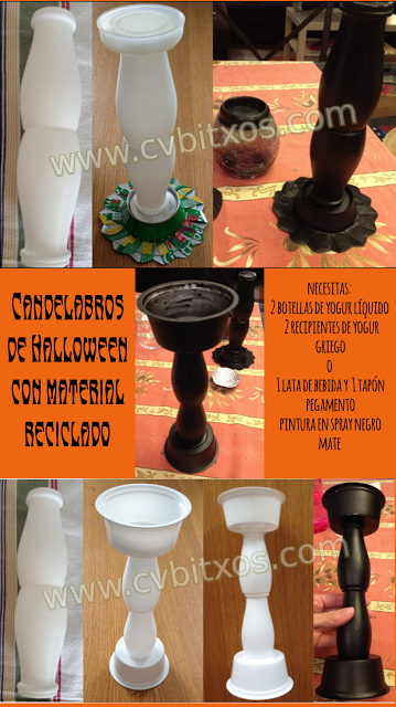 Halloween recycled candle holder  - Candelagors de Halloween con material reciclado