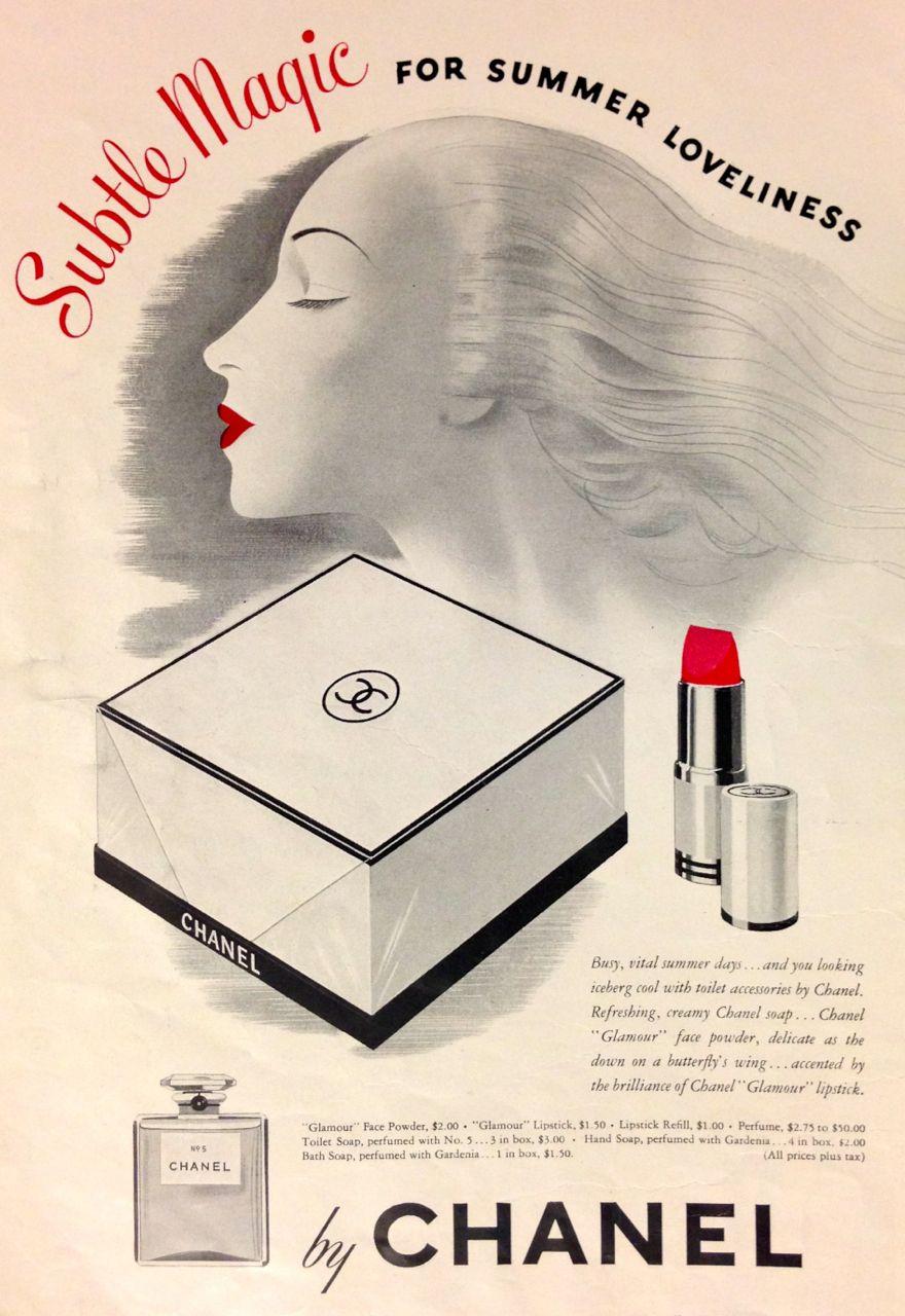 Chanel subtle magic cosmetics ad 1942 1940s makeup vintage makeup ads