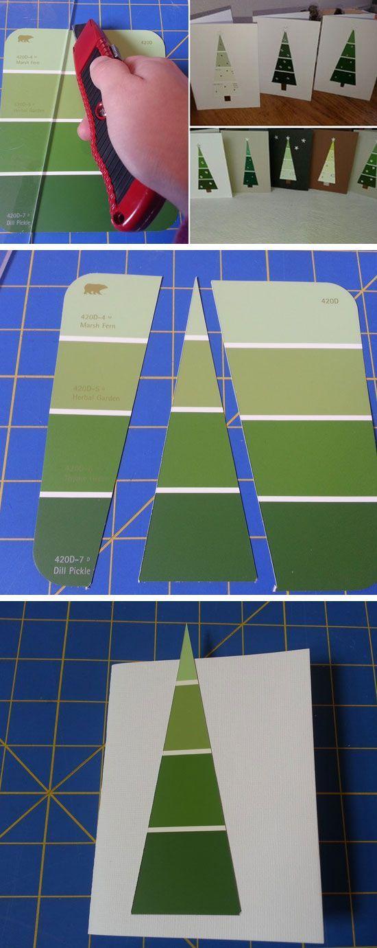 Paint Chip Tree Christmas Cards | Tällä tekniikalla vähän eriväreillä sais varmaan aikaan päheet radiomastot