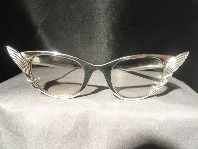 Cat Eye Tura 50's Aluminum Winged Mid Century Glasses Eyeglasses Silver Original