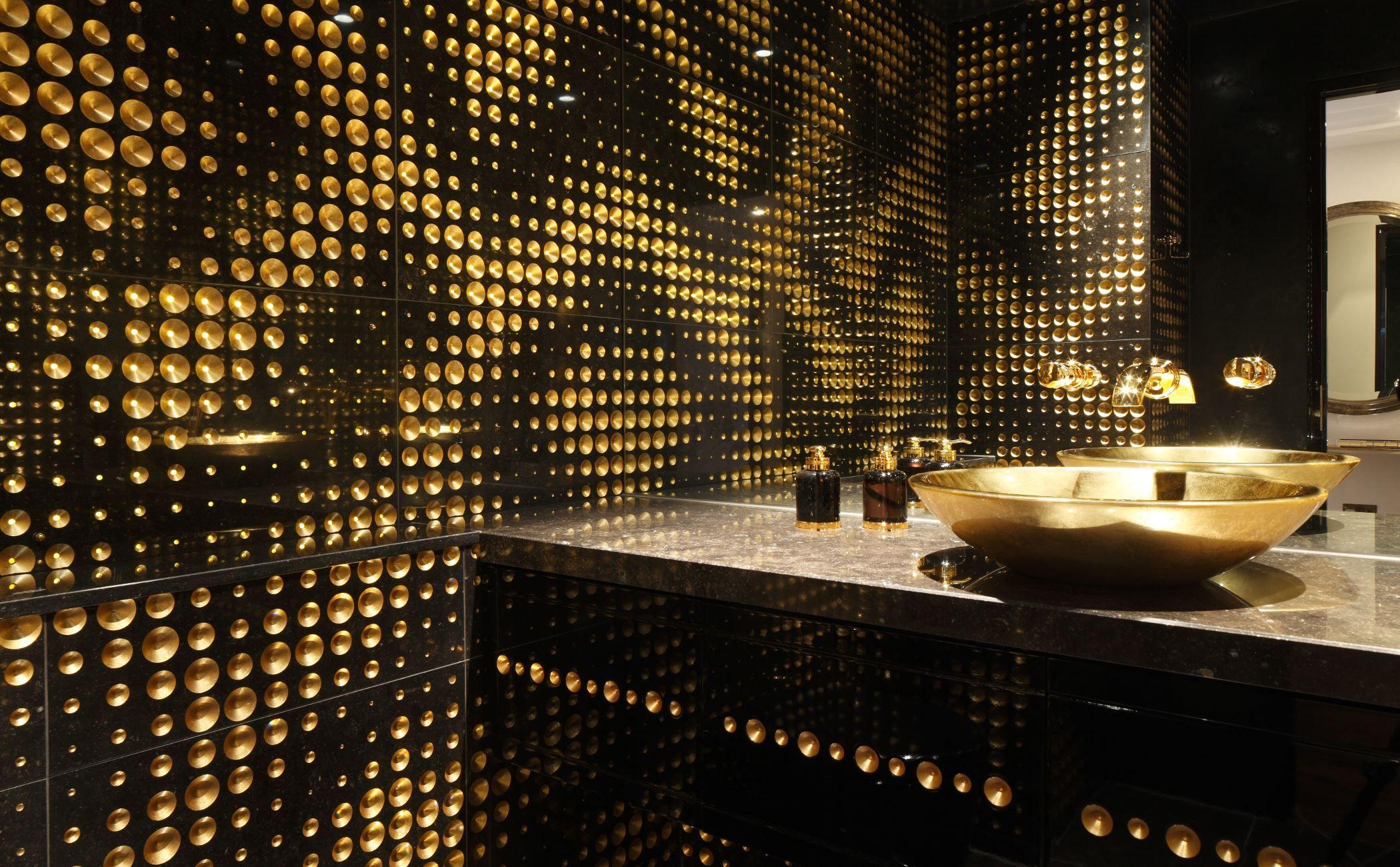 Luxury powder room design - Black marble | Lithos Design | wall ...