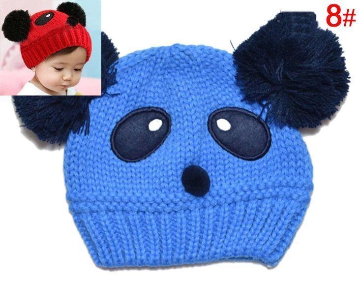 New 2016 Winter Baby Cubs Panda Knitted Hat Warm Cute Boys Girls Caps Pompon Wool Beanies Hats Autumn Crochet Cap For Kids