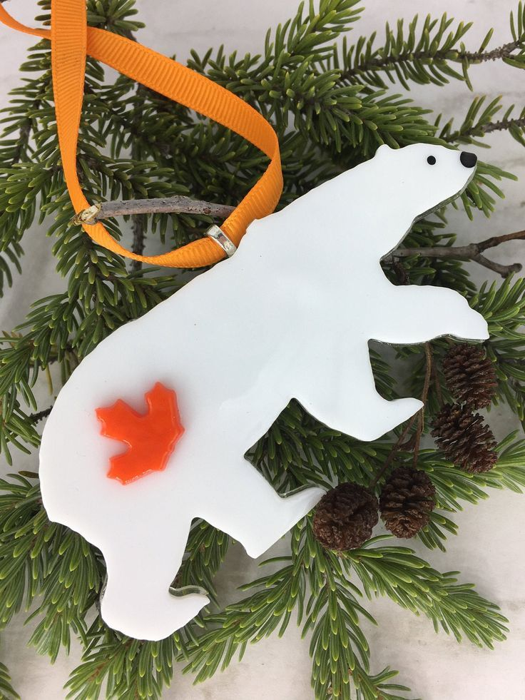 Personalized Polar Bear Ornament, Canadian Ornament, Fused