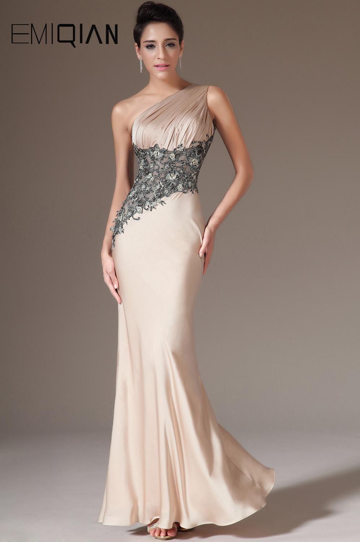 Charming one shoulder mermaid champagne satin u black lace evening