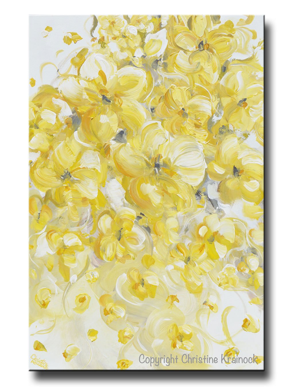 ORIGINAL Art Yellow Grey Abstract Painting Modern Floral Gold White ...