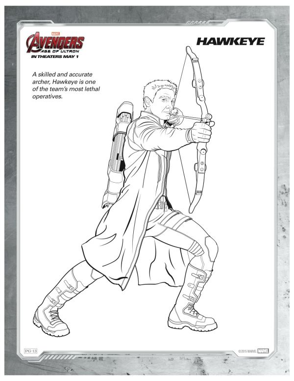 Marvel Avengers Age of Ultron Hawkeye Coloring Page | Printable ...