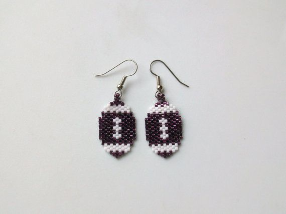 Maroon and White Beaded Football Earrings by mswolflady on