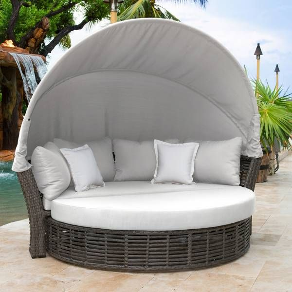 Panama Jack Graphite Outdoor Canopy Daybed In Grey Patio Daybed Outdoor Daybed Daybed Canopy