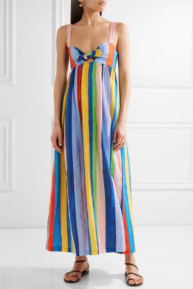 Mara Hoffman Tie front striped organic linen maxi dress